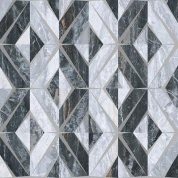 Bergamo геометрический декор Холодная гамма ЛПР vitra 60х60, глазурованный керамогранит