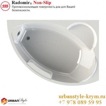 Алари radomir, белая асимметричная акриловая ванна 168x120x68+панель фронтальная