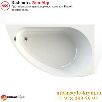 Бергамо radomir, белая асимметричная акриловая ванна 168x100x67+панель фронтальная
