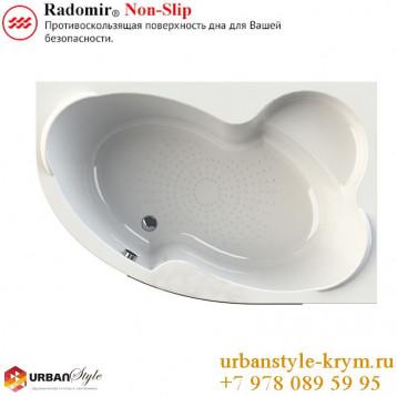 Ирма radomir, белая асимметричная акриловая ванна 149x96,5x64+панель фронтальная