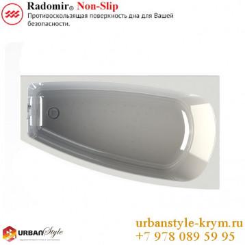 Мэги radomir, белая асимметричная акриловая ванна 140x80x62+панель фронтальная