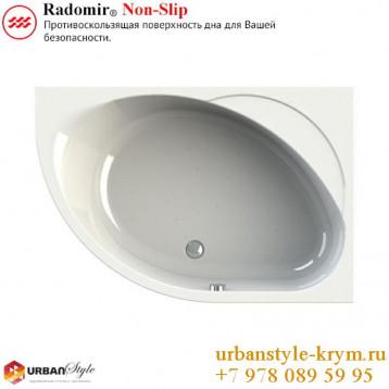 Мелани radomir, белая асимметричная акриловая ванна 140x95x59+панель фронтальная