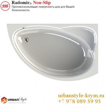 Модерна radomir, белая асимметричная акриловая ванна 160x100x67+панель фронтальная