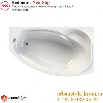 София radomir, белая асимметричная акриловая ванна 169x99x70.5+панель фронтальная