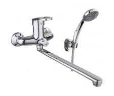 ATLANT смеситель для ванны однорычажный, переключатель ванна/душ встроен в корпус, L-излив 350 мм
