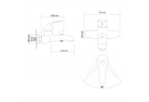 AURORA смеситель для ванны однорычажный,  хром  40мм