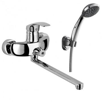 BARON Смеситель для ванны однорычажный, переключатель ванна/душ встроен в корпус, L-излив 350 мм