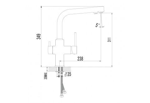 DAICY смеситель для кухни двухрычажный с подключением питьевой воды. IMPRESE